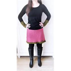 KLEID Strickkleid Frauenkleid Einzelstück UNIKAT Größe 34/36 Upcycling Ivory Rosa Spitze Rose Walk Kunstleder Damenkleid E