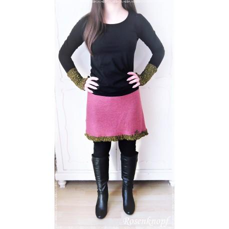 1ddbf7c2a8e39 KLEID Strickkleid Frauenkleid Einzelstück UNIKAT Größe 34/36 Upcycling  Ivory Rosa Spitze Rose Walk Kunstleder