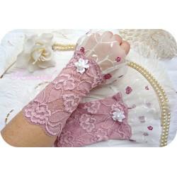 Spitzenstulpen Braut Rosa Weiß Tüll