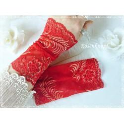 STULPEN Spitzenstulpen Brautstulpen Armstulpen Damenstulpen Pulswärmer Rot Spitze Frauen E