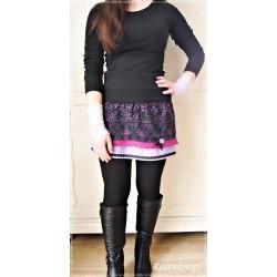 ROCK A-Linie Größe 40 Frauenrock Damenrock Einzelstück UNIKAT Bordeaux Schwarz Altrosa Spitze Rose Frauen E