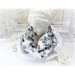 Loopschal Weiß Grau Braut Unikat E K