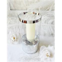 KERZENSTÄNDER Kerzenhalter Versilbert Shabby Vintage Brocante Rose Rot Silber Kerzenleuchter Tafelsilber Tischschmuck E