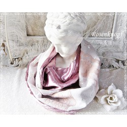 LOOP SCHAL Brautschal Rosa Violett Ivory Rundschal Einzelstück Rosen Altrosa Bestickt Elegant UNIKAT Spitze Damenschal E