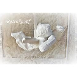 CHERUP ENGEL Weiß Pappmaché Hängende Figur Shabby Brocante Vintage Bemalt