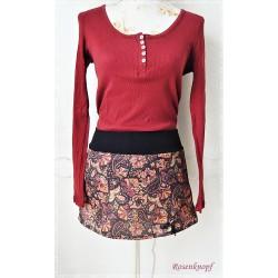 ROCK Gr.36 S Anthrazit Rot Violett Ocker Rock über Hose Chacheur Frauenrock Damenrock Mini Rose Paisleymuster E