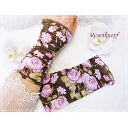 STULPEN Braun Rosa Hellgrün Floral Armstulpen Pulswärmer Damenstulpen Handstulpen Braun Oper Ball Hochzeit E