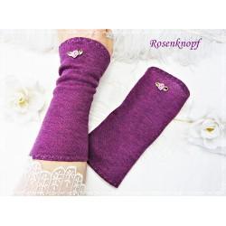 STULPEN Armstulpen Violett Satinröschen Stretchstulpen Stoffstulpen Pulswärmer Damenstulpen Handstulpen