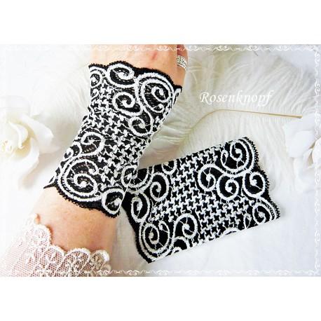 STULPEN Brautstulpen Weiß Manschetten Armstulpen Spitzenstulpen Damenstulpen Handstulpen Pulswärmer Spitze E+K
