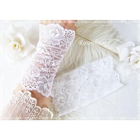 STULPEN Brautstulpen Armstulpen Spitzenstulpen Reinweiß Weiß Damenstulpen Handstulpen Pulswärmer Spitze Frauen Hochzeit  E