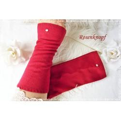 STULPEN Armstulpen Rot UNIKAT Pulswärmer Damenstulpen Strickstulpen Perlen Frauen