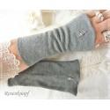 STULPEN Grau UPCYCLING Perlen Strickstulpen Armstulpen UNIKAT Pulswärmer Damenstulpen Handstulpen