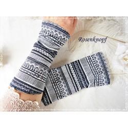 STULPEN Armstulpen  Ivory Dunkelblau Jerseystulpen Stoffstulpen Pulswärmer Damenstulpen Gemustert Handstulpen