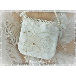 TASCHE Handtasche Brauttasche Damenhandtasche Abendtasche Ivory Creme Ecru Perlen Spitze Spitzentasche E+K