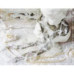 SCHAL Moosgrün Weiß Rosa Bestickt Brautschal Damenmode Frauen Perlenstickerei UNIKAT Halstuch Hochzeit E+K