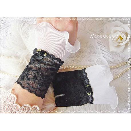 Spitzenstulpen ELEVEN Brautstulpen Rosa Weiß