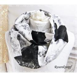 Schlauchschal Schwarz Weiß Spitze Brautloop Unikat Damen E+K