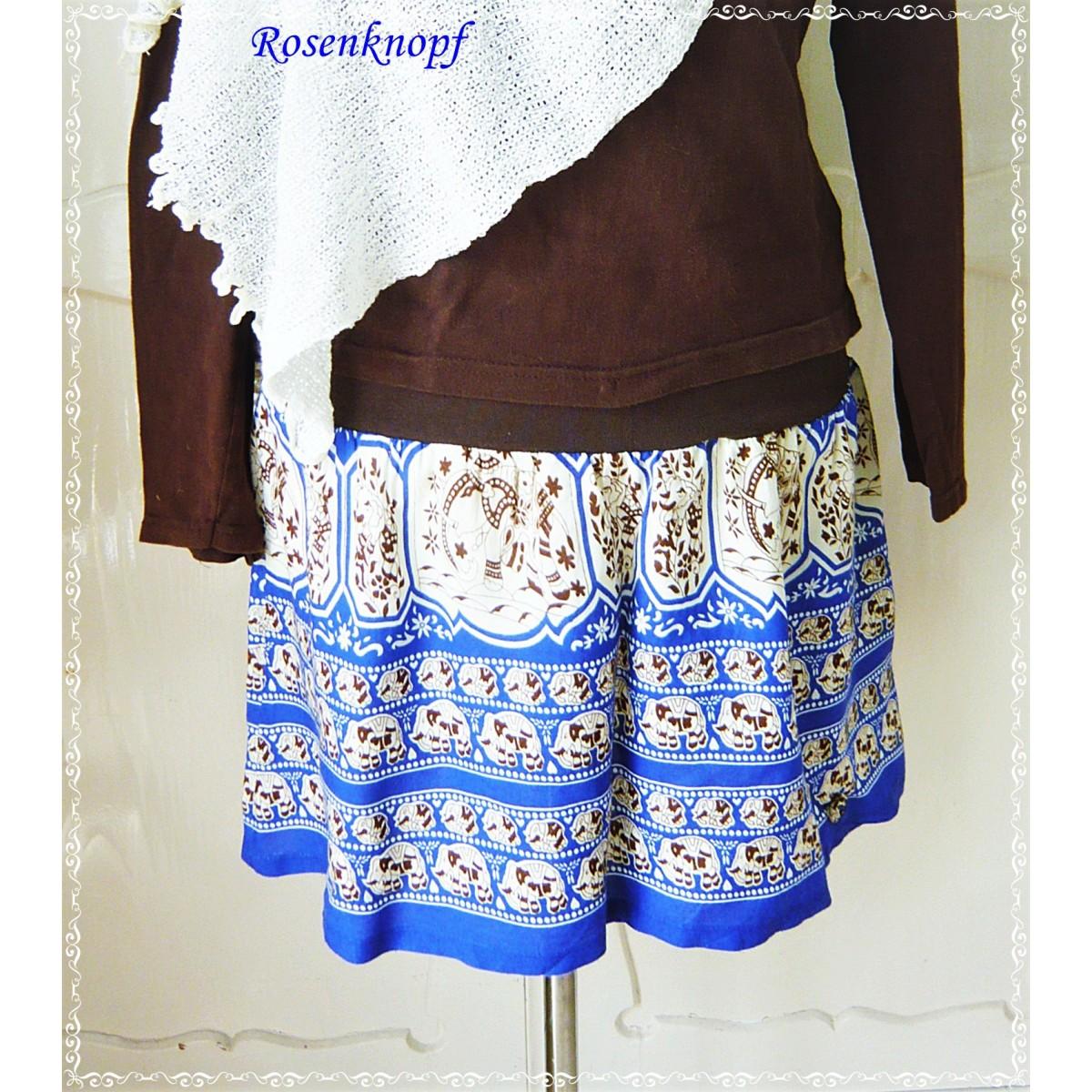 40c494eef873 ROCK Damenrock Blau Ivory UPCYCLING A-Linie Größe 38-40 Frauenrock ...