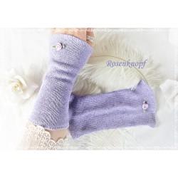 STULPEN Armstulpen Violett Lavendel Geblümt Stretchstulpen Stoffstulpen Pulswärmer Damenstulpen Handstulpen K