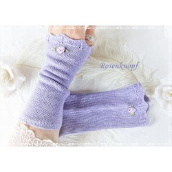 STULPEN Armstulpen Flieder Lavendel UNIKAT Strickstulpen Stoffstulpen Pulswärmer Damenstulpen Handstulpen Rose K
