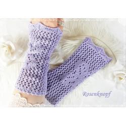 STULPEN Armstulpen Flieder Lavendel UNIKAT Strickstulpen Pulswärmer Damenstulpen Handstulpen K