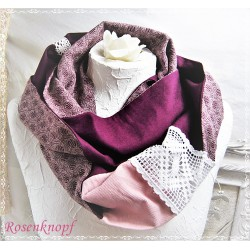 LOOP SCHAL Brautschal Brautloop Rundschal Einzelstück Rosen Rosa Violett Altrosa Frauen Elegant UNIKAT Spitze Damenschal E