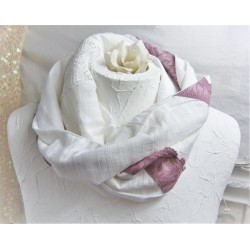 Schlauchschal Weiß Violett Spitze Brautloop Unikat Damen E+K