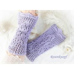 STULPEN Armstulpen Flieder Lavendel UNIKAT Strickstulpen Pulswärmer Damenstulpen Handstulpen