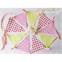 WIMPELKETTE Girlande Fähnchengirlande Rosa Hellgrün (Nr.9) Shabby Geschenk Mitbringsel Give Away E+K