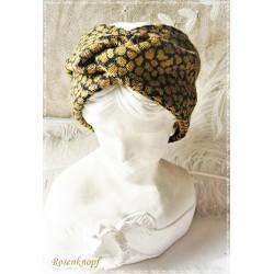 Haarband Stirnband Schwarz Ocker Knoten Stirnband Jersey Turban Elastisch Paisley Geschenk  E+K