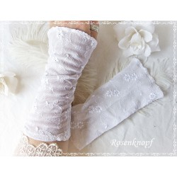 Spitzenstulpen Weiß Braut Unikat K