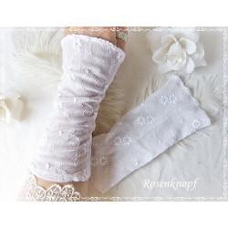 STULPEN Weiß Brautstulpen Armstulpen Spitzenstulpen Reinweiß Damenstulpen Handstulpen Pulswärmer Spitze E