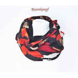 Damenloop-Schwarz-Rostrot-Beige-Fleece-Schal  E+K