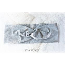 Haarband Stirnband Grau Federn Jersey  K