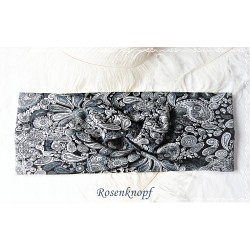 Haarband Stirnband Grau Schwarz Jersey E K