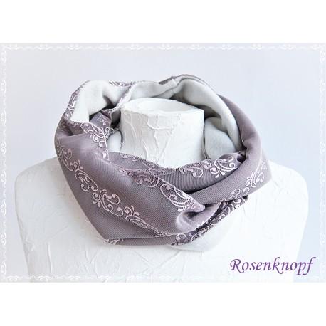 SCHLAUCHSCHAL Brautschal Rosa Violett WEIß Rundschal Einzelstück Altrosa Crinkle Elegant UNIKAT Spitze Damenschal E