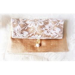 Clutch SCENT of ROSES Brautclutch Unikat Rosa Lila Spitze