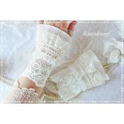 Brautstulpen Spitzenstulpen Ivory Weiß