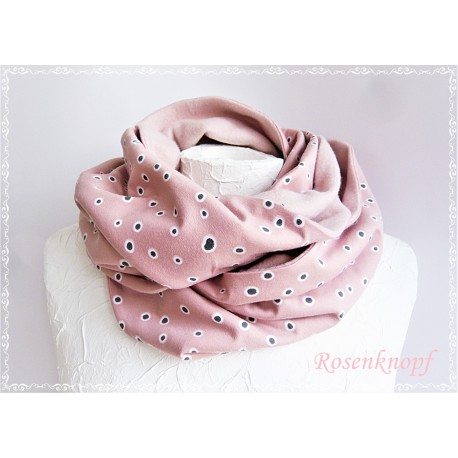 Damenloop Schal Grau Rosa Unikat E+K