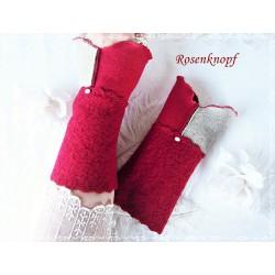 Walkstulpen Rot Beige Damen Unikat K