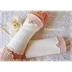 Walkstulpen FAIRY'S LOVE Brautstulpen Ivory Rosa