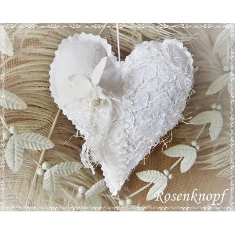 Herz SPITZENSPIEL Weiß Leinen Perlen Spitze