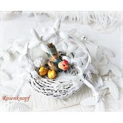 Osternest Weiß mit Gockel Shabby E K