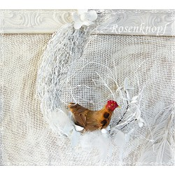 Osterfenster mit Hase Weiß Ivory Unikat E+K