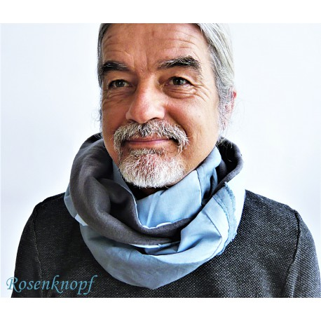 Loopschal für Herren Blau Ivory Upcycling Unikat
