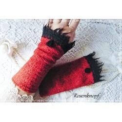 Walkstulpen ROSEWOOD Armstulpen Rot Schwarz Rose