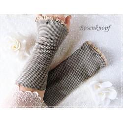 Handstulpen Grau Schwarz