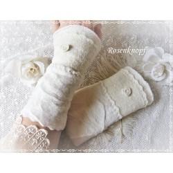 WALKSTULPEN  Brautstulpen Armstulpen Pulswärmer Ivory  UNIKAT