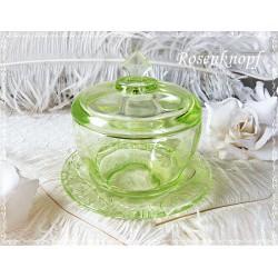 Kristallglasschale mit Deckel Vintage    E K