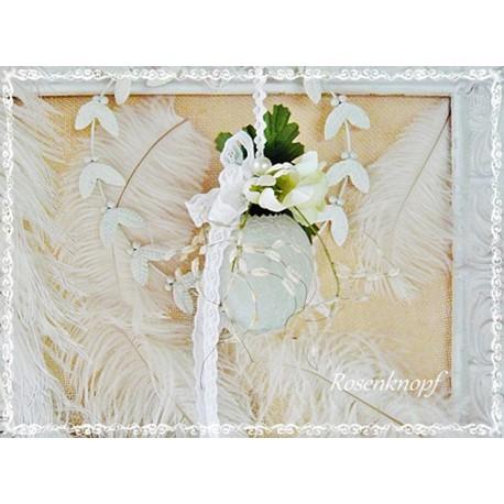 Glas OSTEREI Vintage Shabby Blumen Spitze Perlen